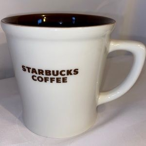 STARBUCKS COFFEE MUG BONE CHINA WHITE BROWN 2009